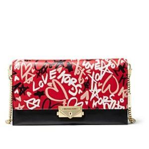 GRAFFITI LOVE RED Crossbody CLUTCH Kors Handbag
